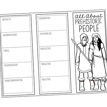 PREHISTORIC PEOPLE Research Brochure Template, World History Project