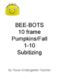 PREK Bee Bots counting pumpkins fall harvest numbers 1-10 subitizing Bee-Bots