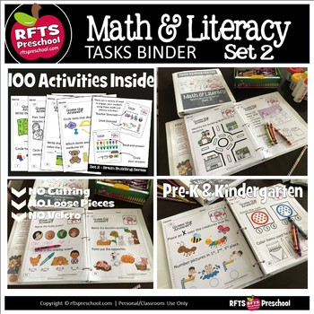 *PREK MATH LITERACY TASKS BINDER 2 for PRESCHOOL KINDERGARTEN