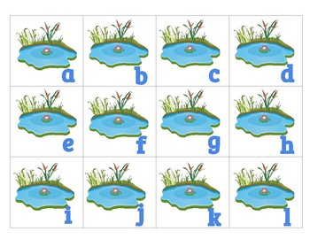 PREK THEME frogs and lily pads uppercase and lowercase letters and match numbers
