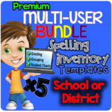 PREMIUM SCHOOL License (5 users) BUNDLE Automatic Spelling Inventory Templates