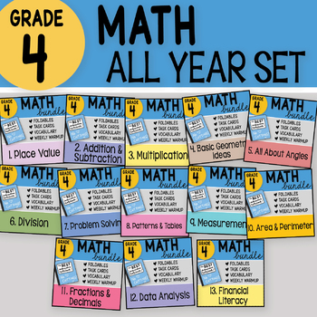 4th Grade Math ALL YEAR SET by Math Doodles - partially complete