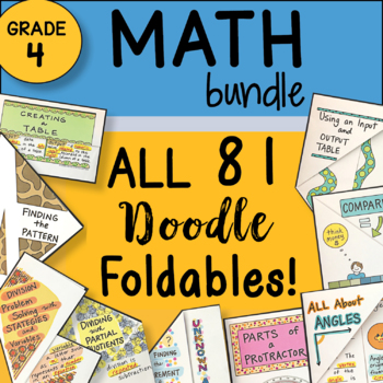 Math Doodle - 4th Grade Math ALL the FOLDABLES - Fun and Engaging Notes