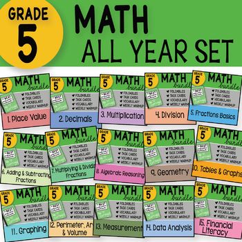 Doodle Notes - 5th Grade Math Interactive Notebook Bundle ~ ALL YEAR SET ~