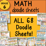 6th Grade Math Interactive Notebook DOODLE SHEETS ~ Fun and Engaging Notes
