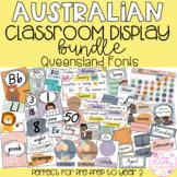 Neutral Australian Classroom Display Bundle - QUEENSLAND FONTS