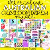 Watercolour Australian Classroom Display Bundle - Queensland Font