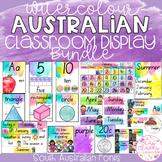 Watercolour Australian Classroom Display Bundle - South Australian Fonts