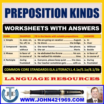 PREPOSITION KINDS WORKSHEETS WITH ANSWERS