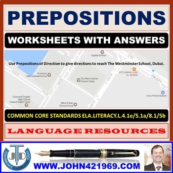 preposition worksheets with answers by john dsouza tpt. Black Bedroom Furniture Sets. Home Design Ideas