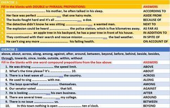 PREPOSITION WORKSHEETS WITH ANSWERS