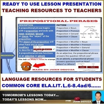 PREPOSITIONAL PHRASES: READY TO USE LESSON PRESENTATION