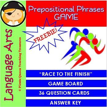 PREPOSITIONAL PHRASES Race to the Finish Game CCSS Aligned 4th Grade Up
