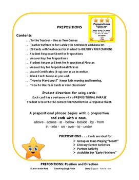 PREPOSITIONS in Sentences | REVIEW | TASK CARDS | Grades 3-4-5 | CORE Fun