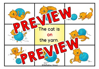 PREPOSITION ACTIVITIES: PREPOSITIONS CLIP CARDS: CAT THEME PREPOSITIONS CENTER