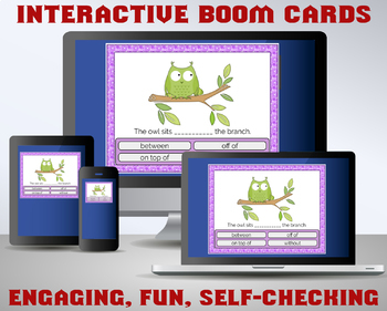 PREPOSITIONS Digital Task Cards - Boom Cards - Great for assessments!