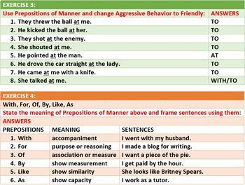PREPOSITIONS OF MANNER LESSON AND RESOURCES