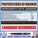 PREPOSITIONS OF MANNER WORKSHEETS WITH ANSWERS