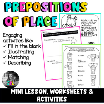 ESL Prepositions of place- Mini Lesson, Worksheets & Activities | TpT