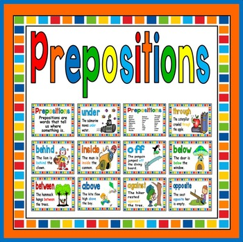PREPOSITIONS POSTERS - DISPLAY LITERACY ENGLISH EARLY YEARS, KEY STAGE 1
