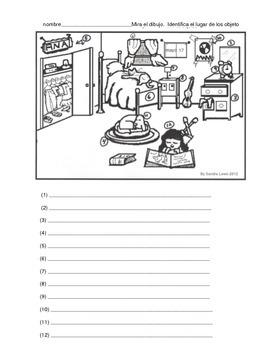 PREPOSITIONS SPANISH BEDROOM SCENE 1 PAGE