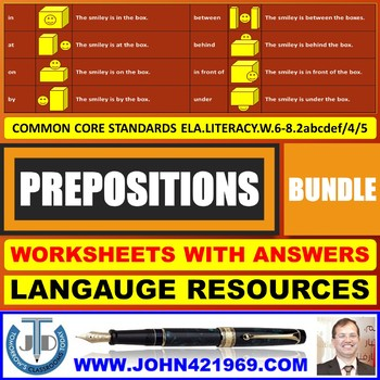 PREPOSITIONS WORKSHEETS WITH ANSWERS BUNDLE