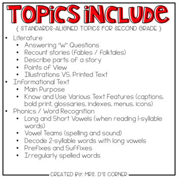 Second Grade English Language Arts Adapted Work Binder { Standards Aligned }