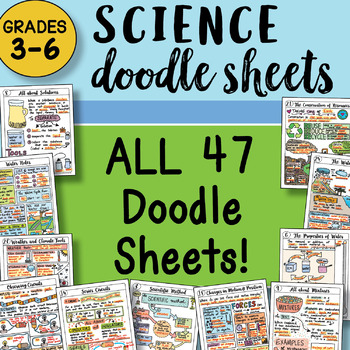 PRESALE! ALL the Doodle Notes Sheets SCIENCE Grades 3-6 - SO EASY TO USE!