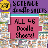 ALL the SCIENCE Doodle Sheets Grades 6-8 ~ EASY to use Not