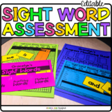 Sight Word Assessment Kit   Editable and Autofilled