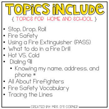 Fire Safety Adapted Work Binder ( Topics for Home and School )