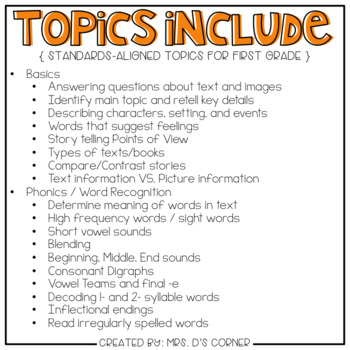 First Gr English Language Arts Adapted Work Binder { Standards Aligned }