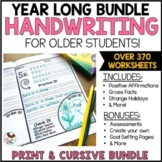 Handwriting Practice Year Long CURSIVE PRINT D'NEALIAN BUNDLE for Older Students
