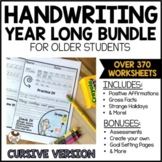 Cursive Handwriting Practice   Year Long Daily Worksheets for Older Students