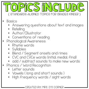 Kinder English Language Arts Adapted Work Binder { Standards Aligned }