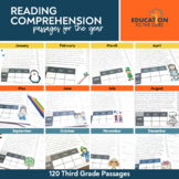 Monthly Fluency Passages 3rd Grade |Reading Comprehension Passages and Questions