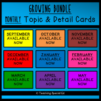 Monthly Topic and Detail Cards - BUNDLE