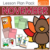 November Lesson Plan Pack | 12 Activities for Math, ELA, +