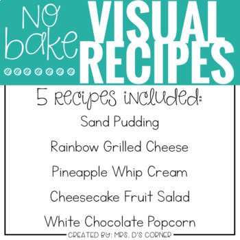 PRESALE Visual Recipes with REAL pictures - August ( for special education )