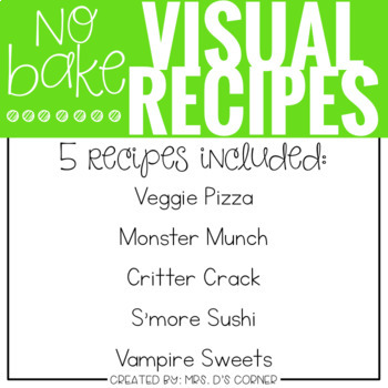 October Visual Recipes with REAL pictures ( for special education )