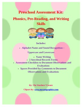 Preschool Assessment Kit: Phonics, Pre-Reading, and Writing Skills