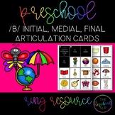 THE PRESCHOOL SLP: Articulation Cards Ring Resource /b/ initial, medial, final