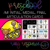 THE PRESCHOOL SLP: Articulation Cards Ring Resource /m/ initial, medial, final