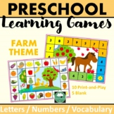PRESCHOOL GAMES Letters Numbers Vocabulary FARM Learning Games