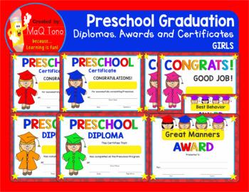 PRESCHOOL GRADUATION GIRLS Diplomas, Certificates and Awards