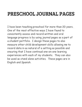 PRESCHOOL JOURNAL  PAGE NAME LETTER ID KINDERGARTEN BILINGUAL SPANISH