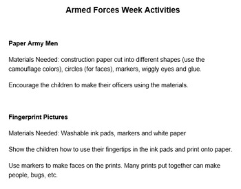PRESCHOOL LESSON PLAN and ACTIVITIES- Armed Forces Week