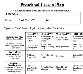 PRESCHOOL LESSON PLAN and ACTIVITIES- Black History Week