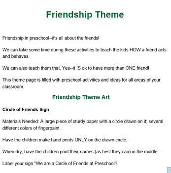 PRESCHOOL LESSON PLAN and ACTIVITIES- Friendship Week