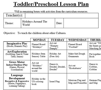PRESCHOOL LESSON PLAN And ACTIVITIES  Holidays Around The World Week